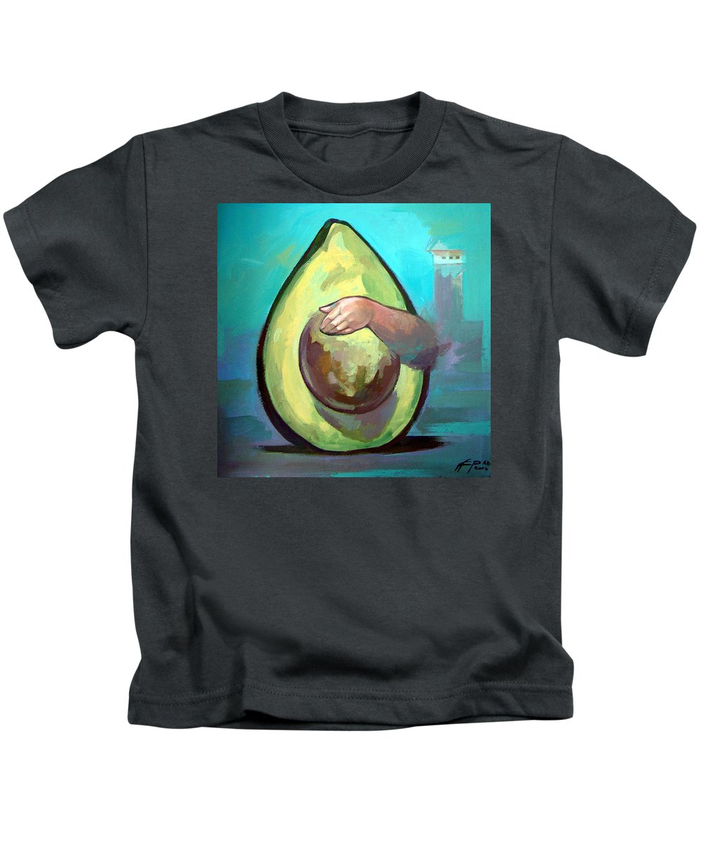 Avocado Kids T-Shirt featuring the painting Avocado by Filip Mihail