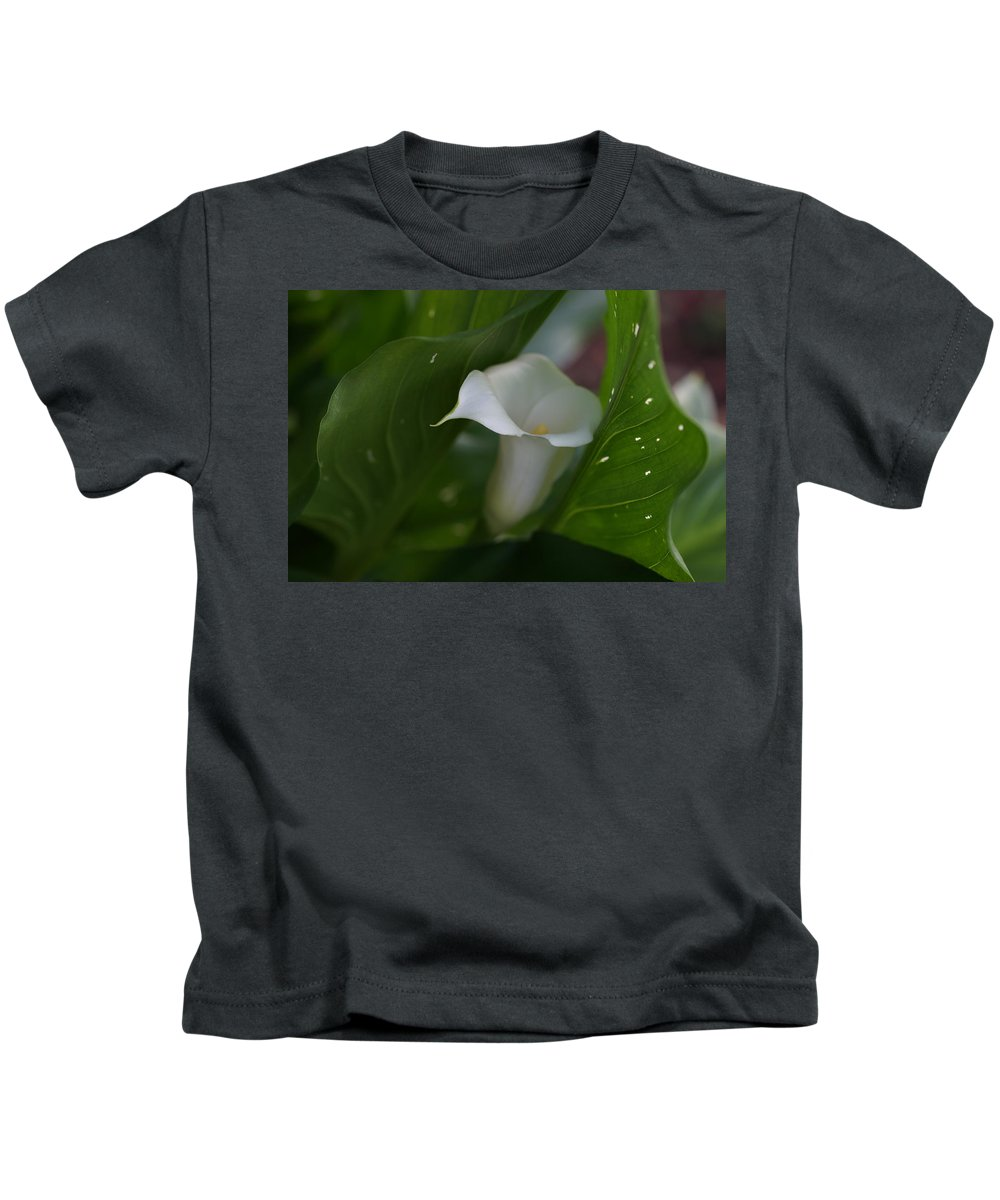 Calla Lily Kids T-Shirt featuring the photograph Awakened by Carrie Goeringer