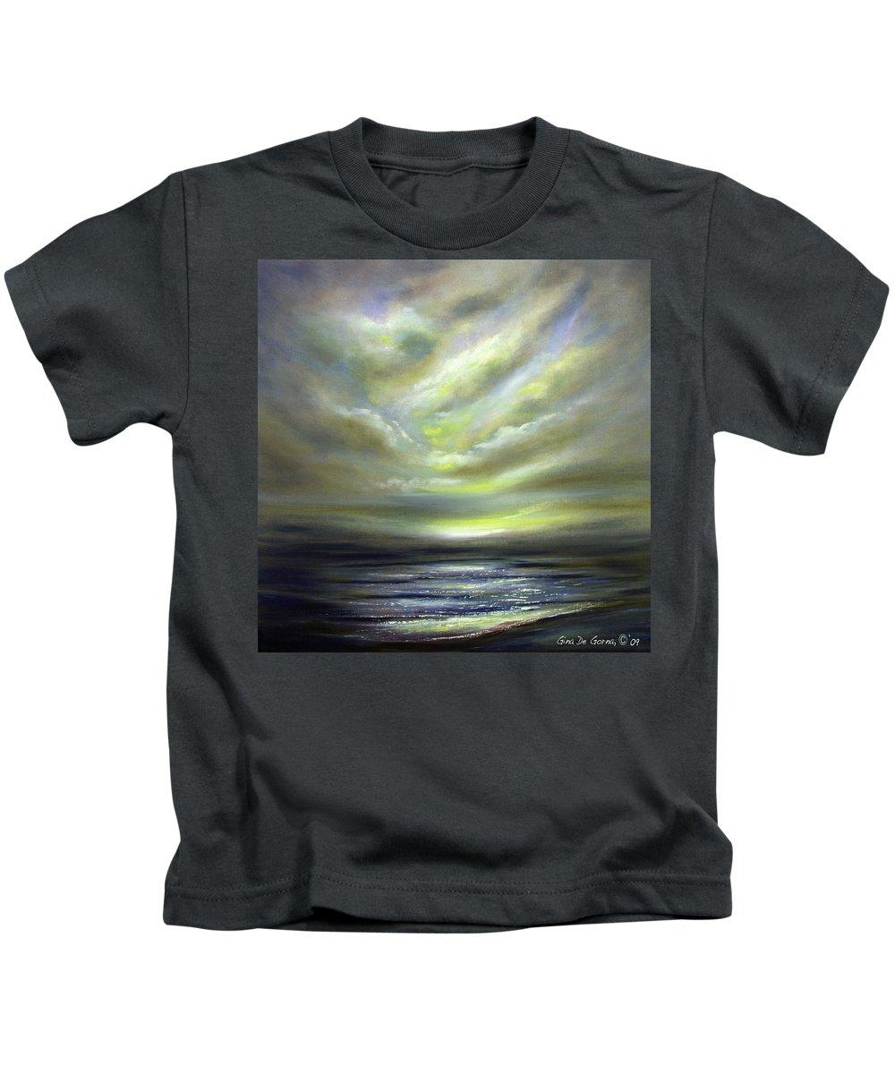 Sunset Kids T-Shirt featuring the painting Away 2 by Gina De Gorna