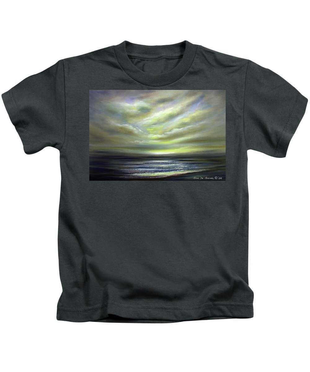 Sunset Kids T-Shirt featuring the painting Away 3 by Gina De Gorna