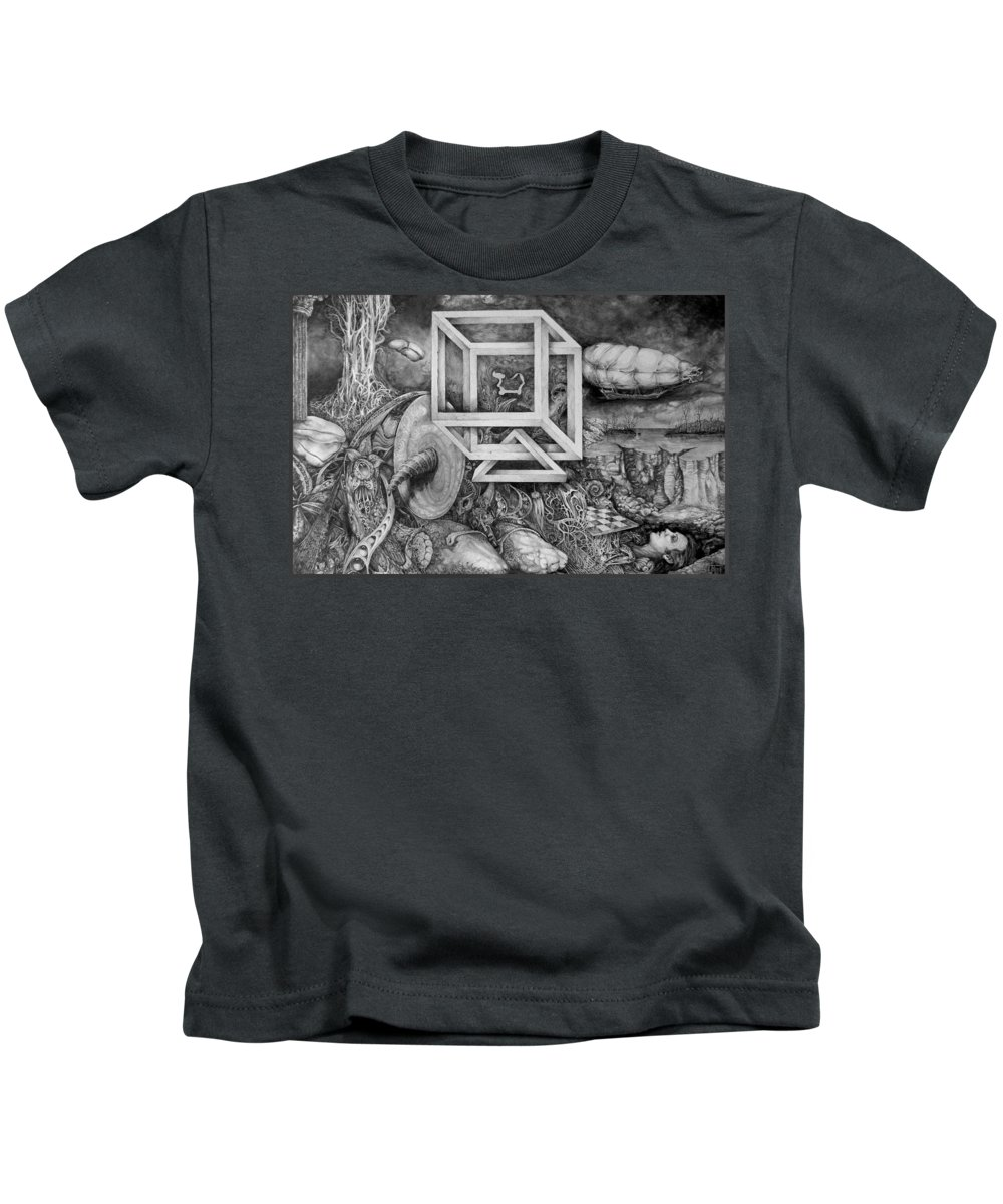 Drawing Kids T-Shirt featuring the drawing Axis Mundi by Otto Rapp