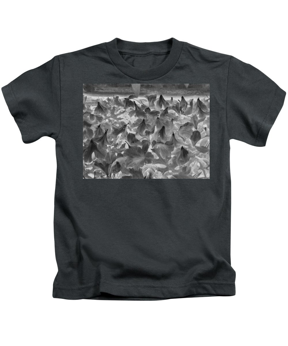 Flowers Azaleas Kids T-Shirt featuring the photograph Azaleas Black And White by Cindy New