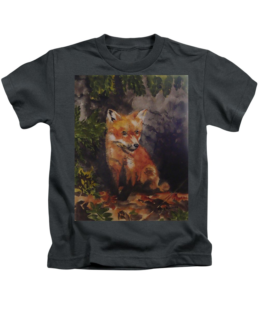 Fox Kids T-Shirt featuring the painting Babe In The Woods by Jean Blackmer