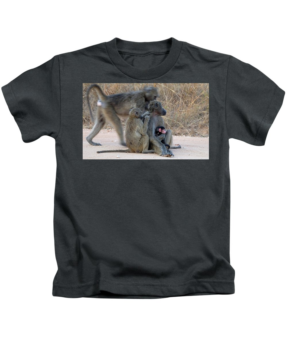 Baboon Family Kids T-Shirt featuring the photograph Baboon Family by Suzanne Morshead