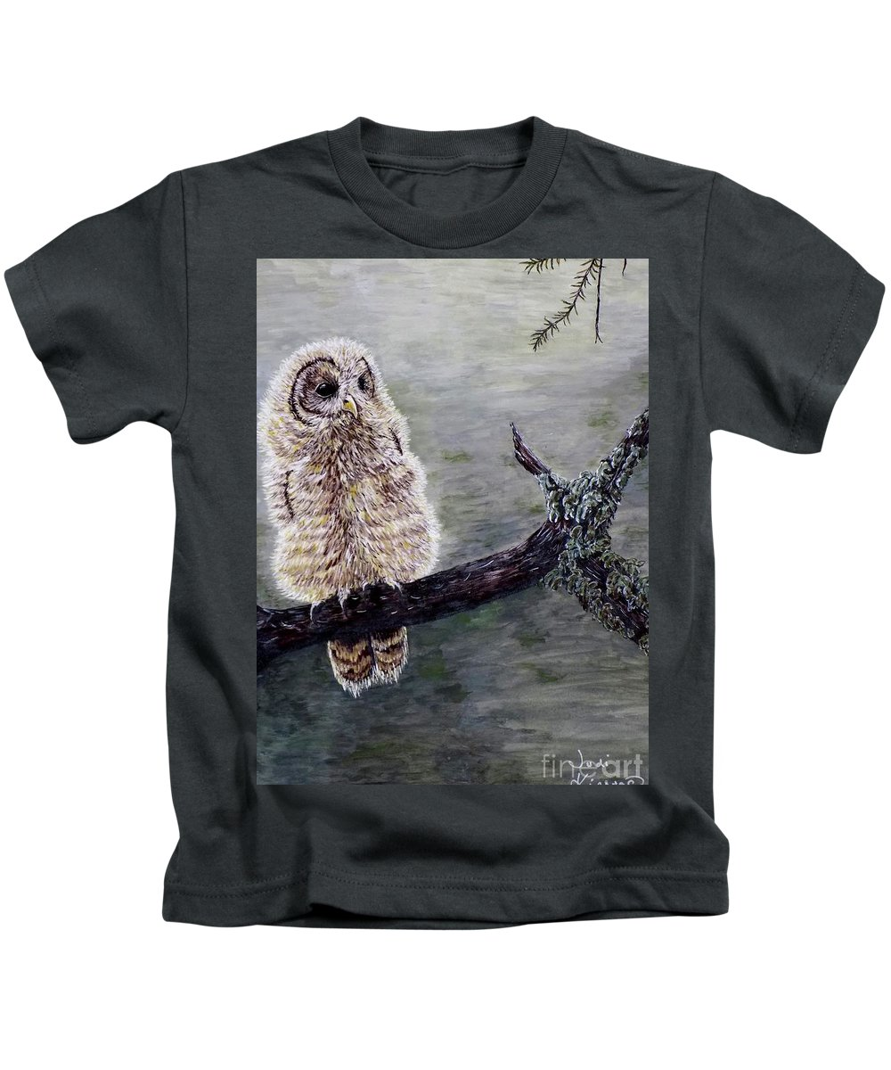 Owl Kids T-Shirt featuring the painting Baby Owl by Judy Kirouac
