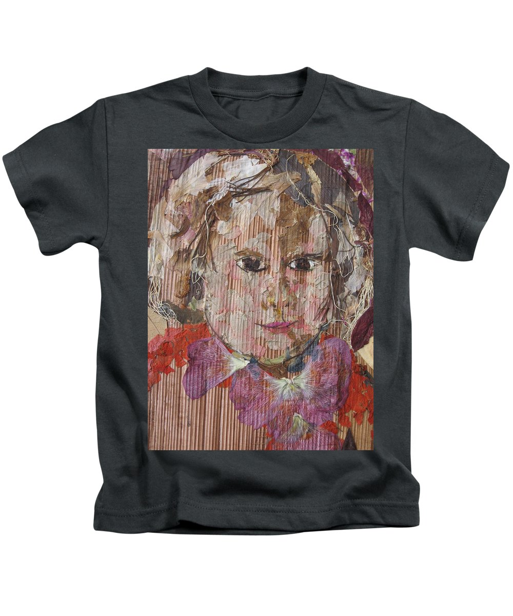 Portrait Kids T-Shirt featuring the mixed media Baby Smiling Yet To Start by Basant Soni