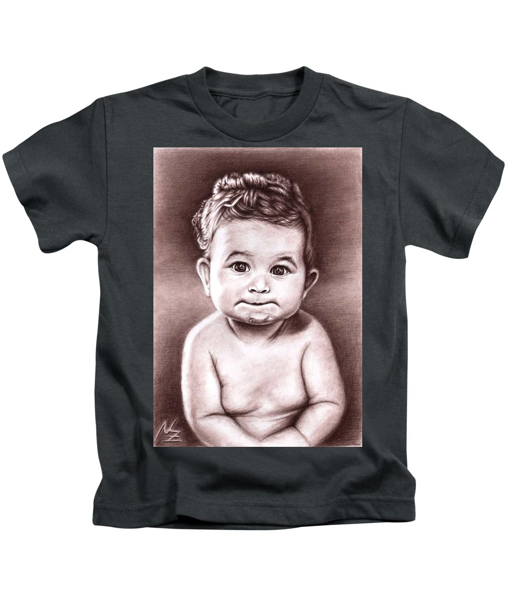 Baby Child Kind Enfant Face Sepia Charcoal Portrait Realism Kids T-Shirt featuring the drawing Babyface by Nicole Zeug