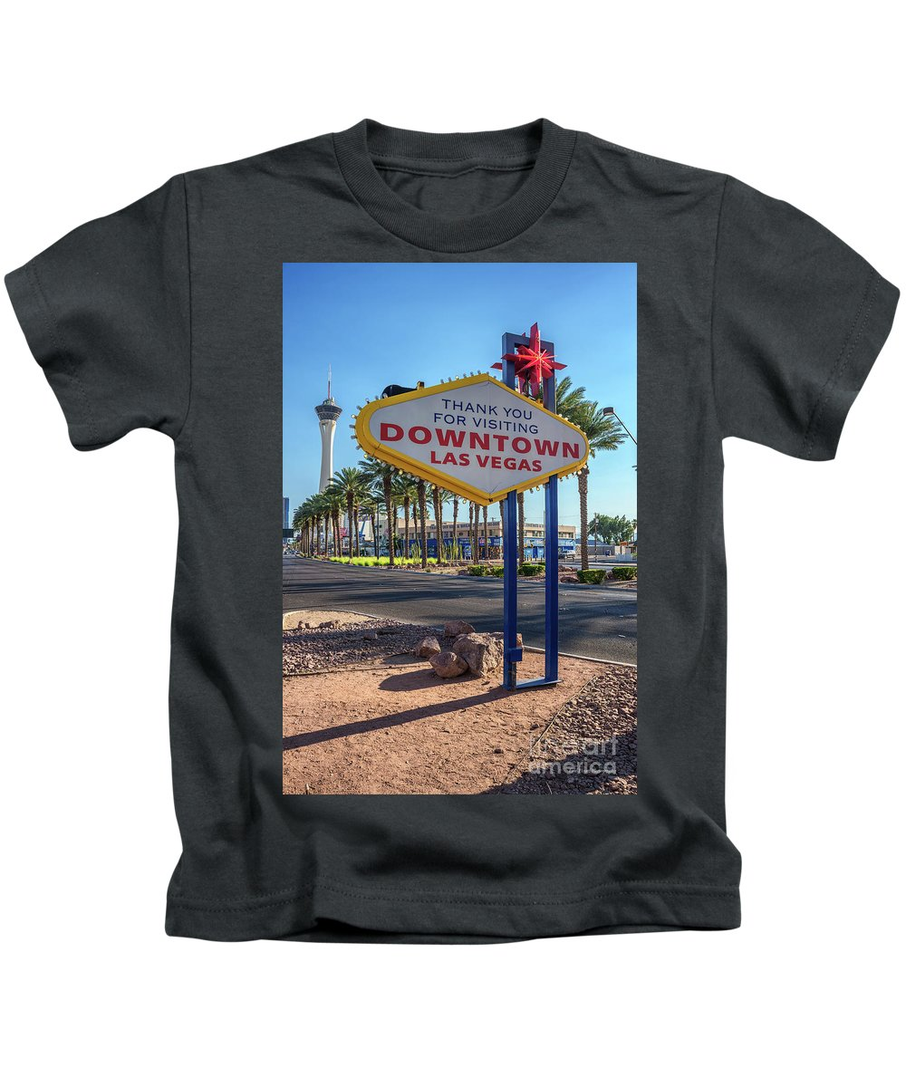 Welcome To Downtown Las Vegas Sign Kids T-Shirt featuring the photograph R.i.p. Back Of The Welcome To Downtown Las Vegas Sign Day by Aloha Art