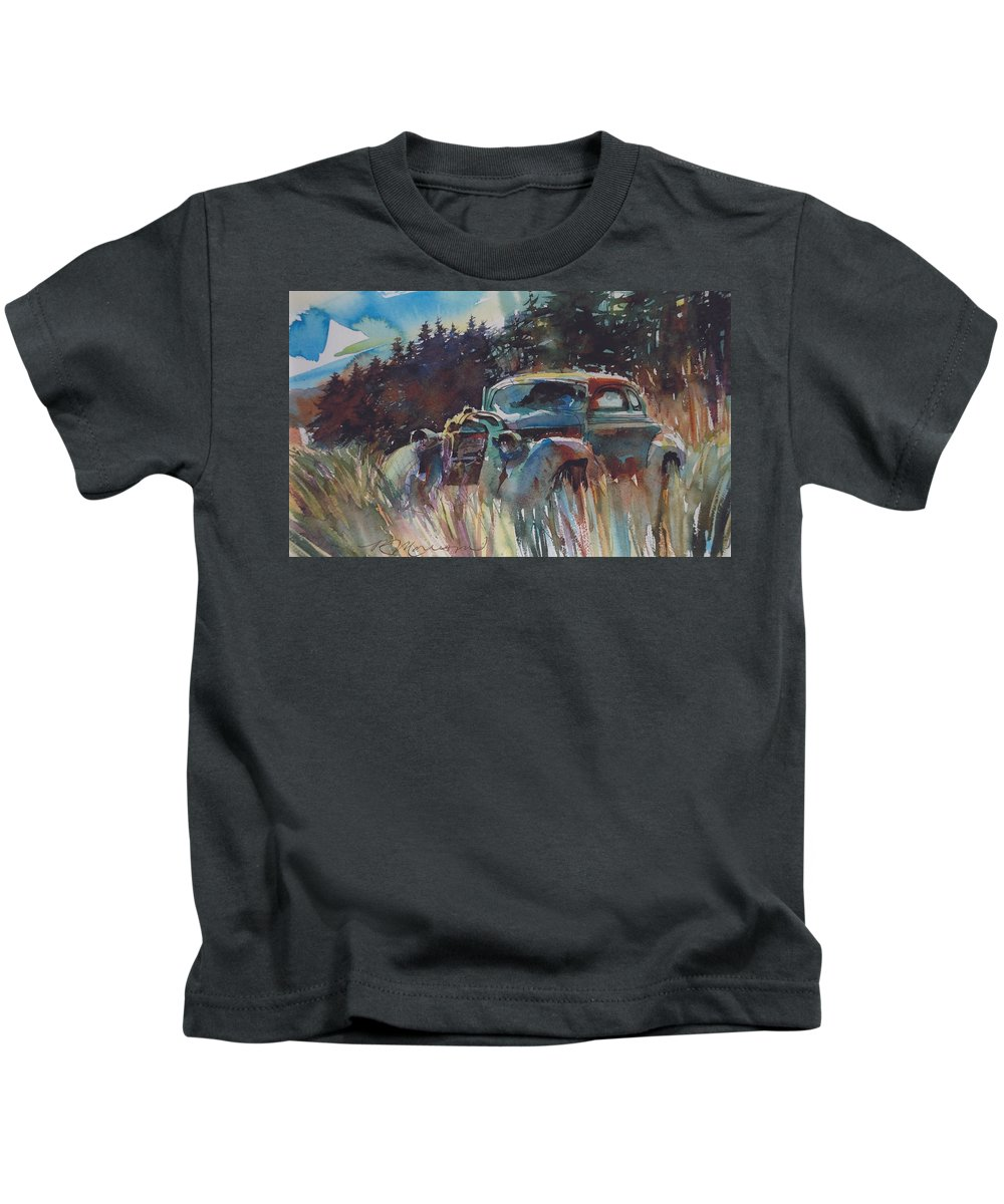 37 Plymouth Kids T-Shirt featuring the painting Back to Earth by Ron Morrison