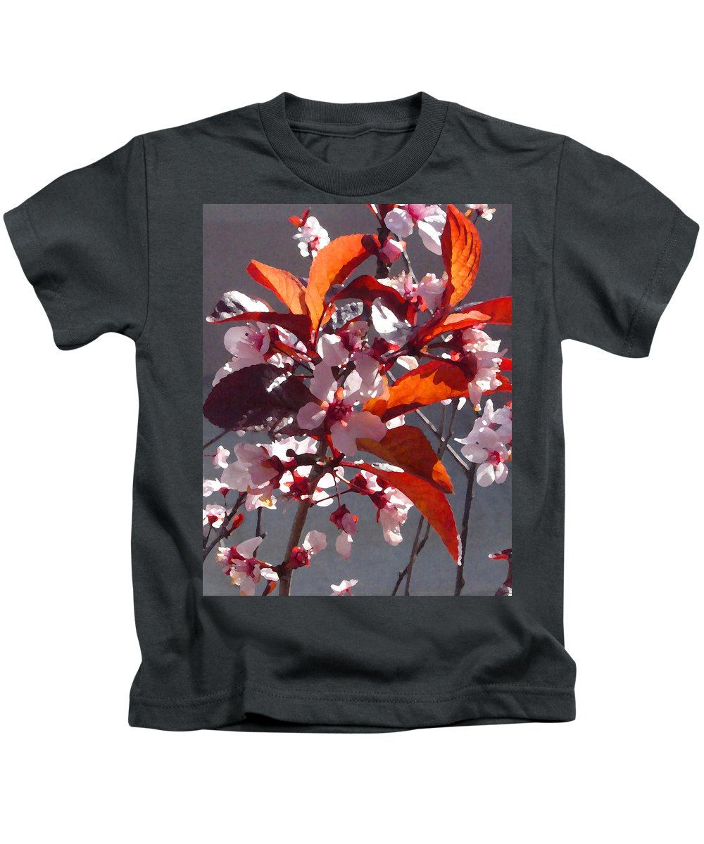 Floral Kids T-Shirt featuring the painting Backlit Pink Tree Blossoms by Amy Vangsgard