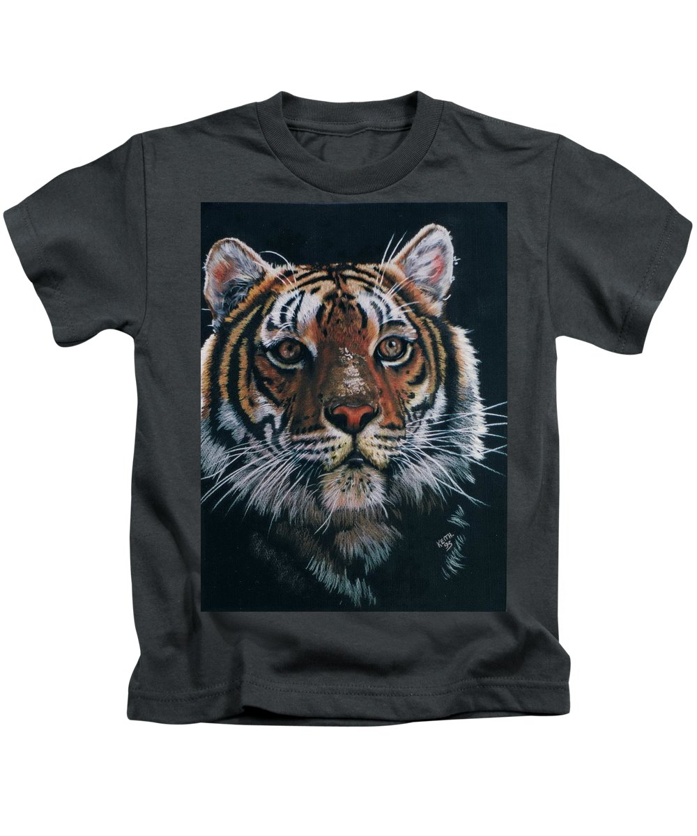 Tiger Kids T-Shirt featuring the drawing Backlit Tiger by Barbara Keith
