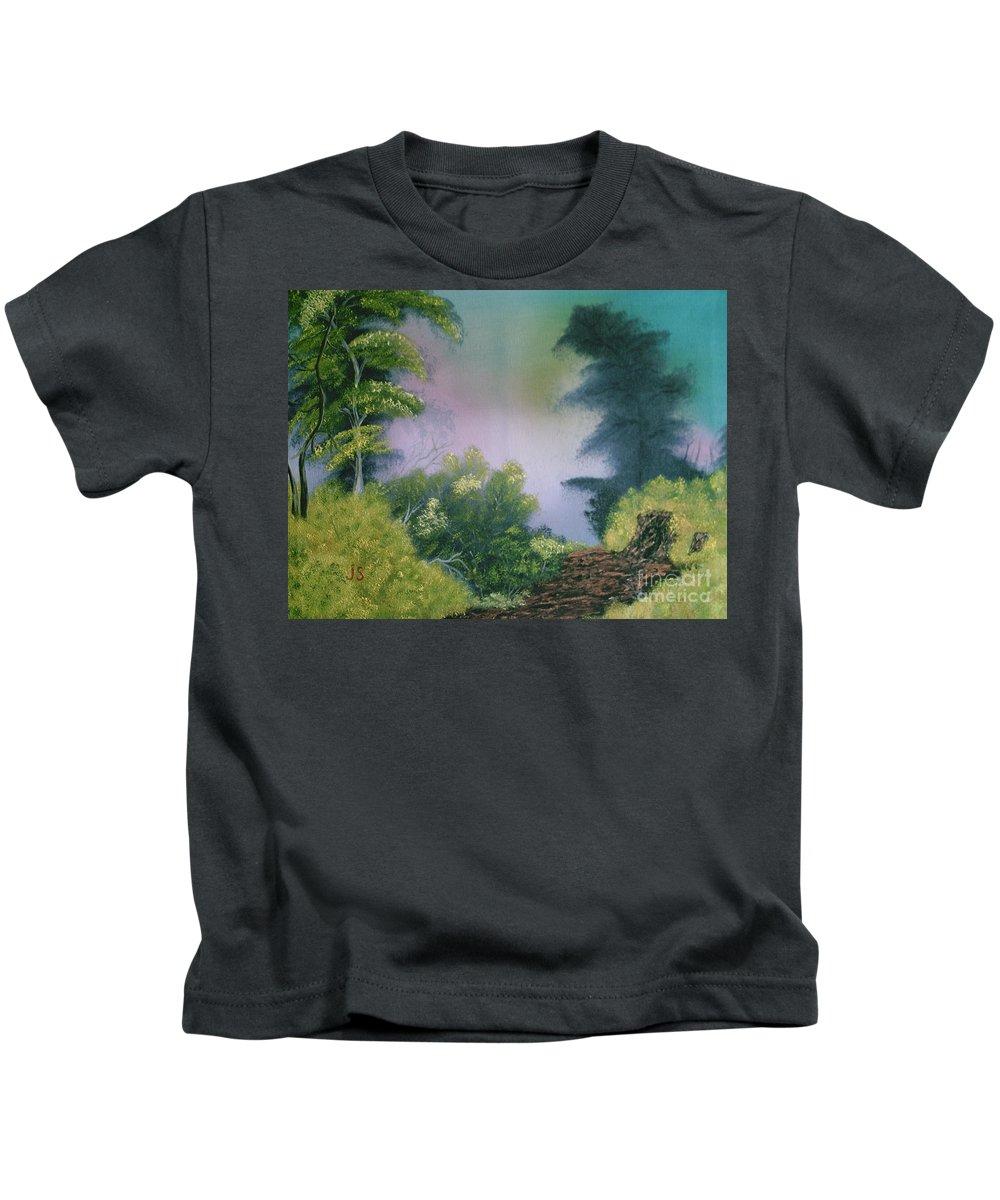 Landscape Kids T-Shirt featuring the painting Backwoods Mist by Jim Saltis