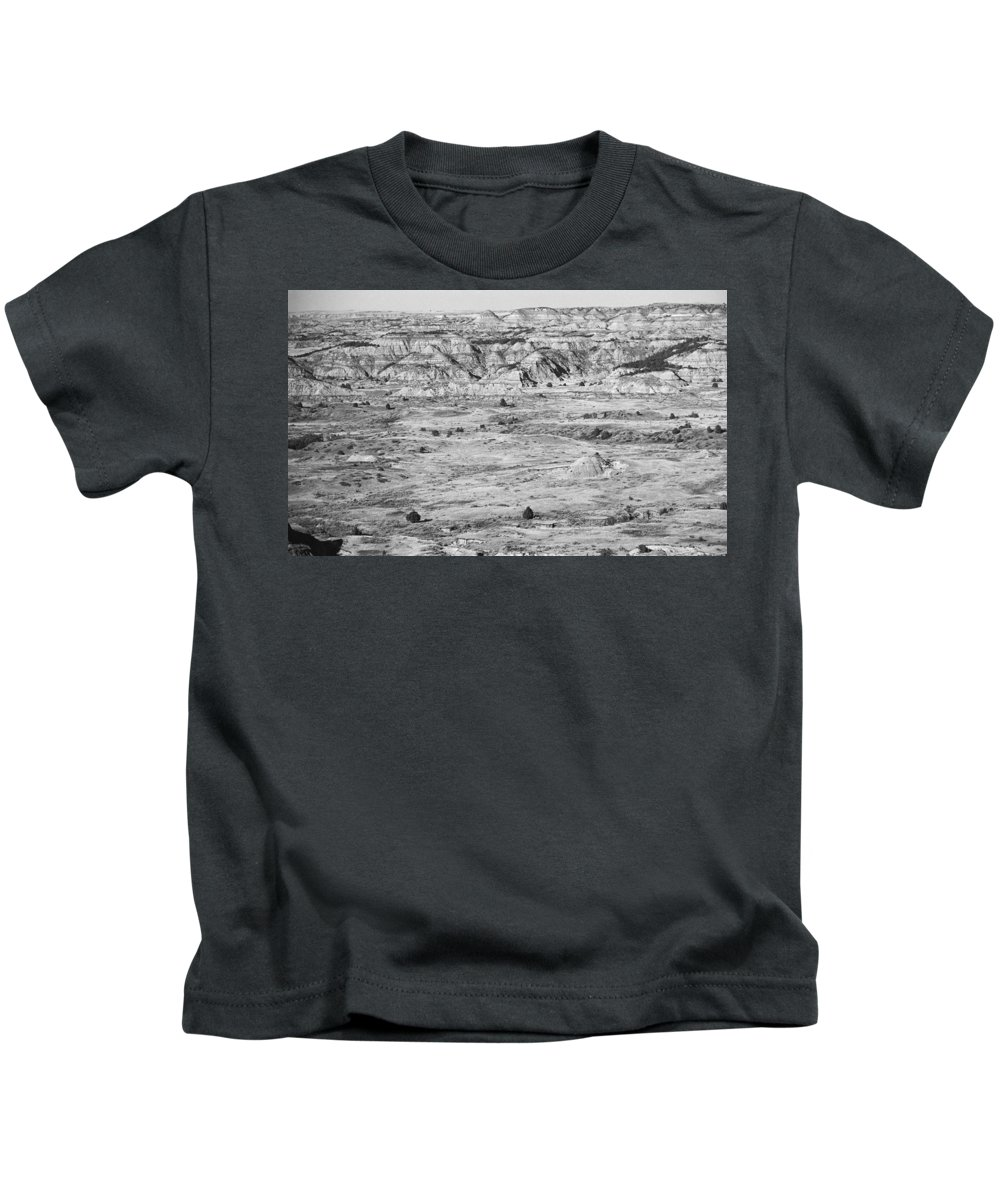 Art Kids T-Shirt featuring the photograph Badlands #2 Bw by Frank Romeo