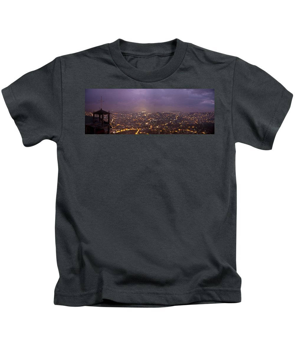 Panoramic Kids T-Shirt featuring the photograph Baguio At Night by George Cabig