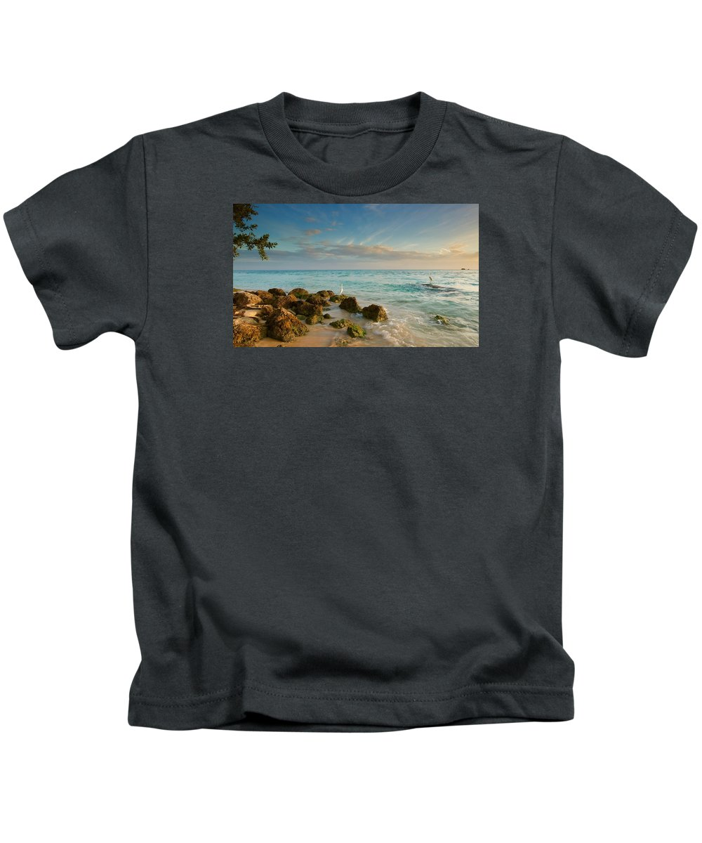 Bahia Honda State Park In The Florida Keys At Sunset With A White Heron And Great Egret. Kids T-Shirt featuring the photograph Bahia Honda Shoreline by Mark Reinnoldt