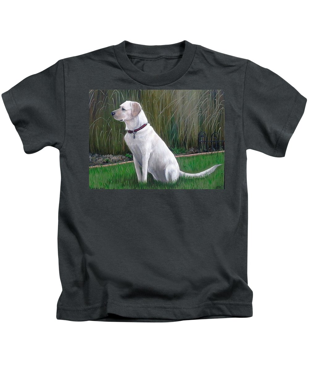 Commission Kids T-Shirt featuring the painting Bailey by Carolyn Anderson