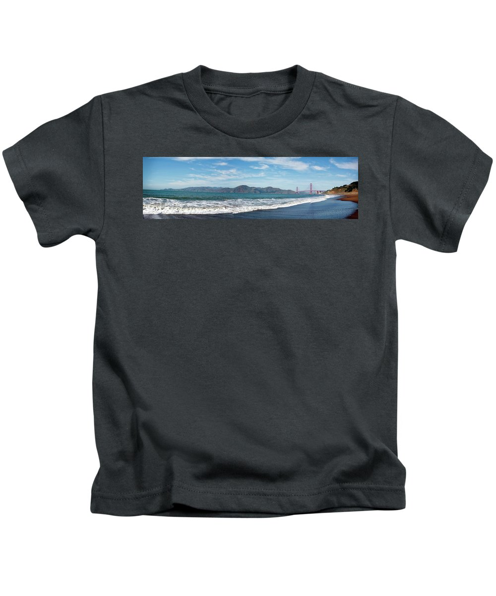 San Francisco Kids T-Shirt featuring the photograph Baker Beach Panorama by Noel Baebler