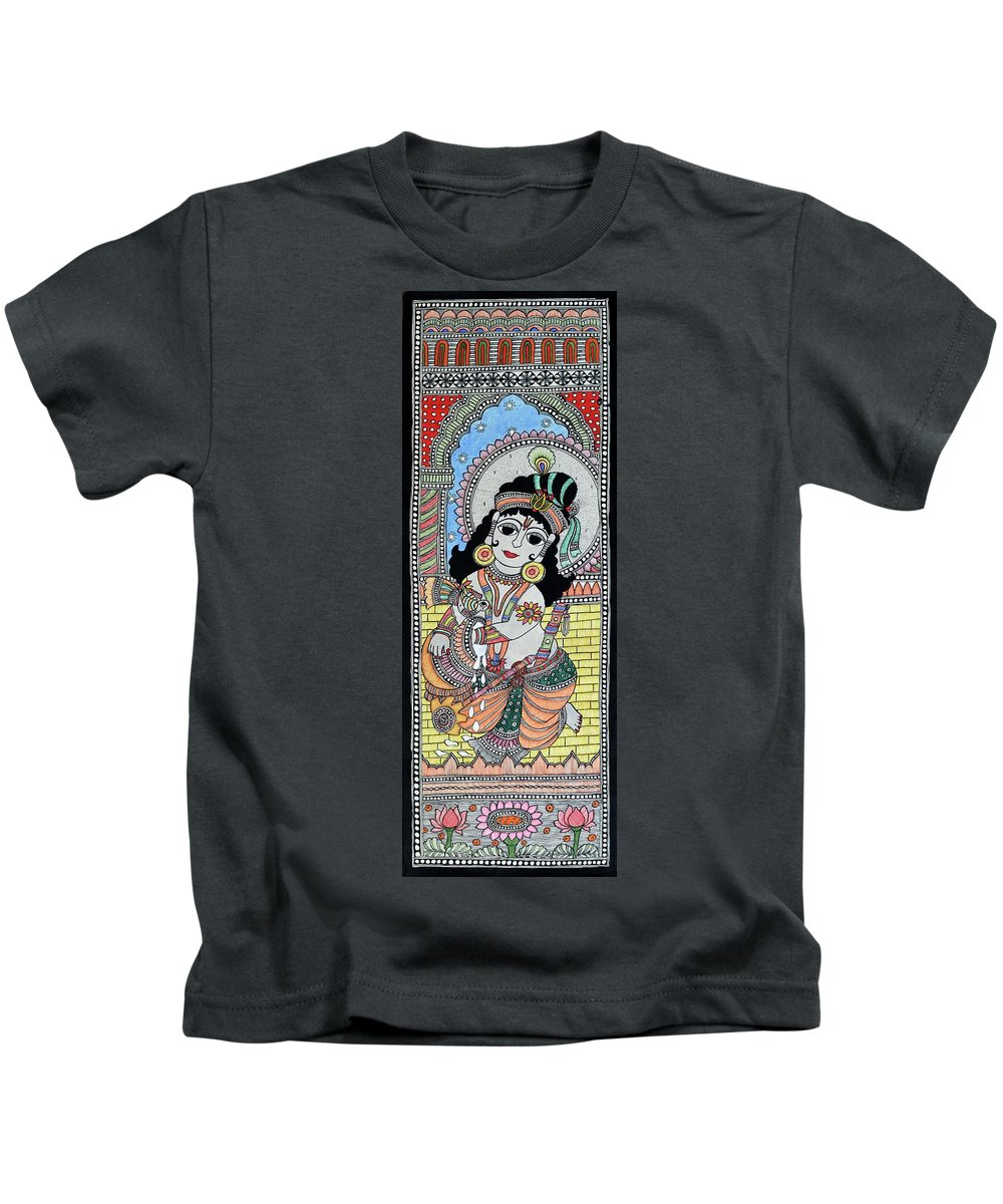 Kids T-Shirt featuring the painting Bal Krishna 1 by Prerna