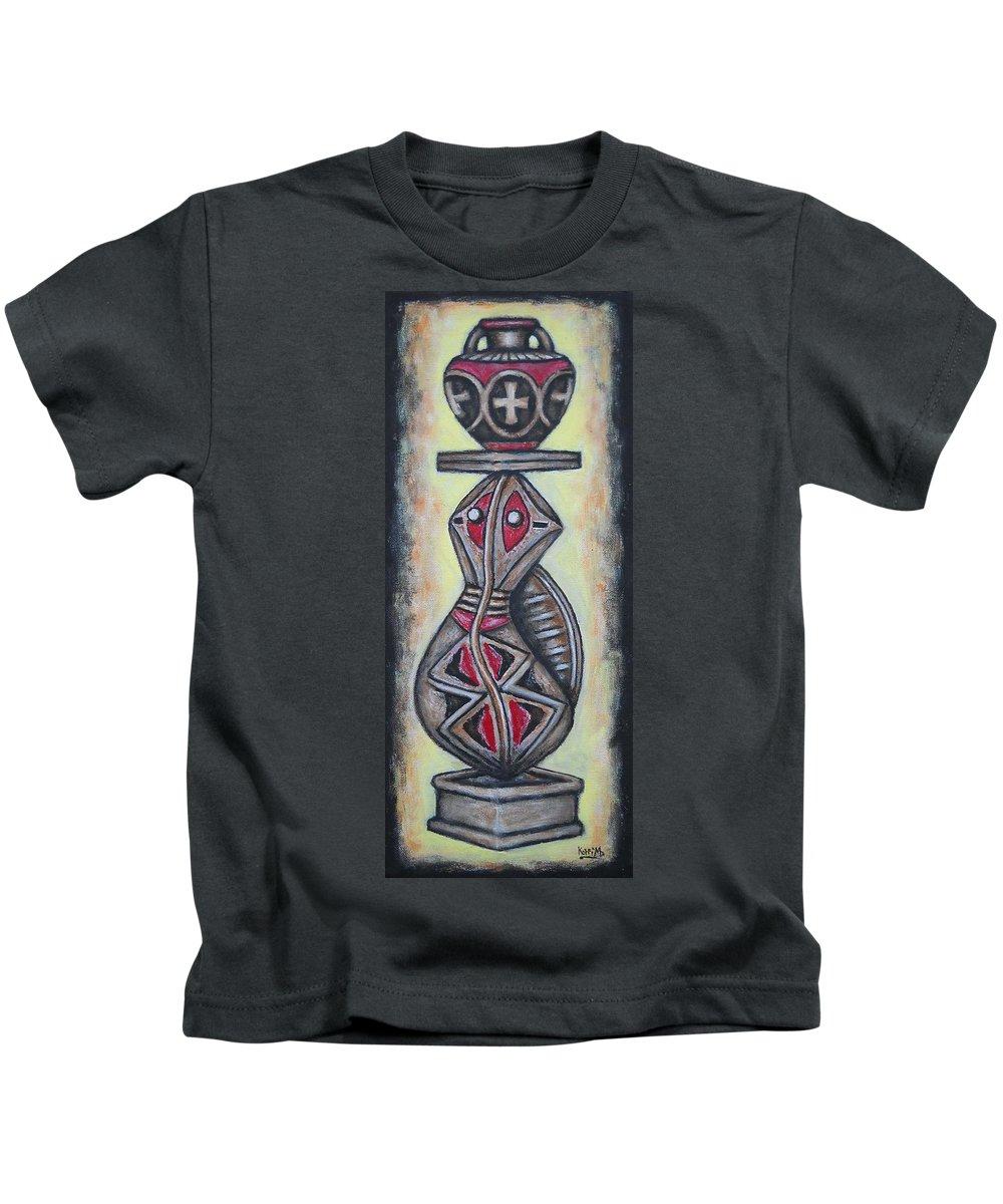 African Art Kids T-Shirt featuring the painting Balance Pot by Koffi Mbairamadji