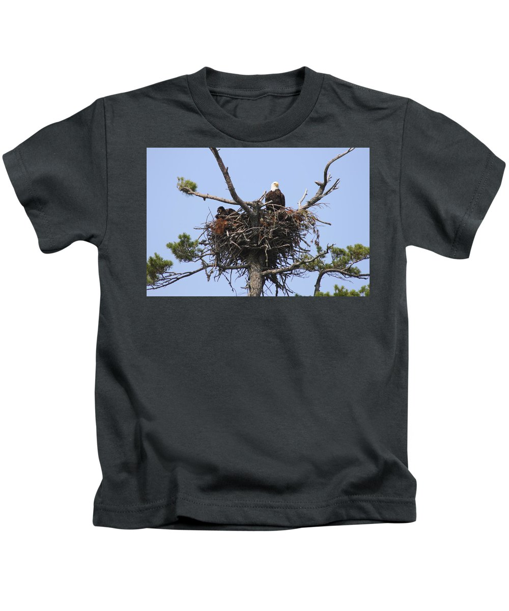 Bird Kids T-Shirt featuring the photograph Bald Eagle Nest by Gary Corbett