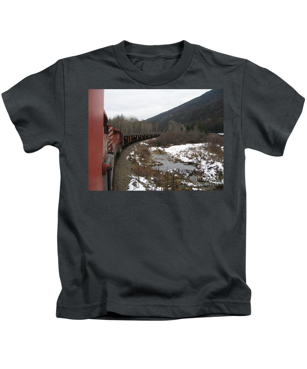 Photograph Train Mountain Snow Winter Tree Nature Kids T-Shirt featuring the photograph Ballast Train by Seon-Jeong Kim