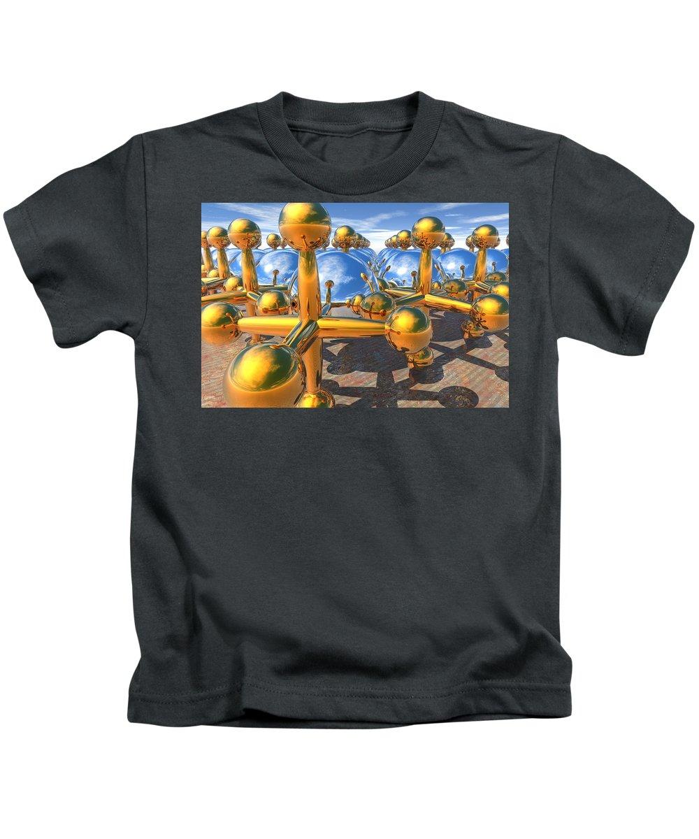 3d Kids T-Shirt featuring the digital art Balls And Jacks II by Lyle Hatch