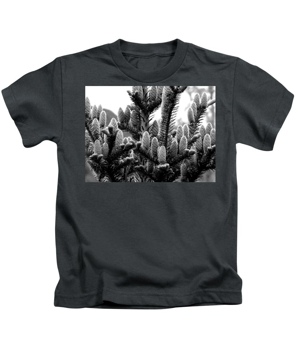 Black And White Photography Kids T-Shirt featuring the digital art Balsam Fir Buds Bw by Barbara Griffin