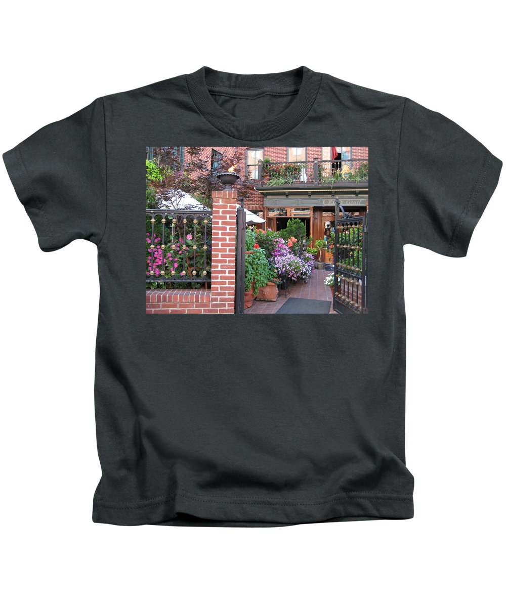 Courtyard Kids T-Shirt featuring the photograph Baltimore Cafe     By Jean Carton by Jerrold Carton