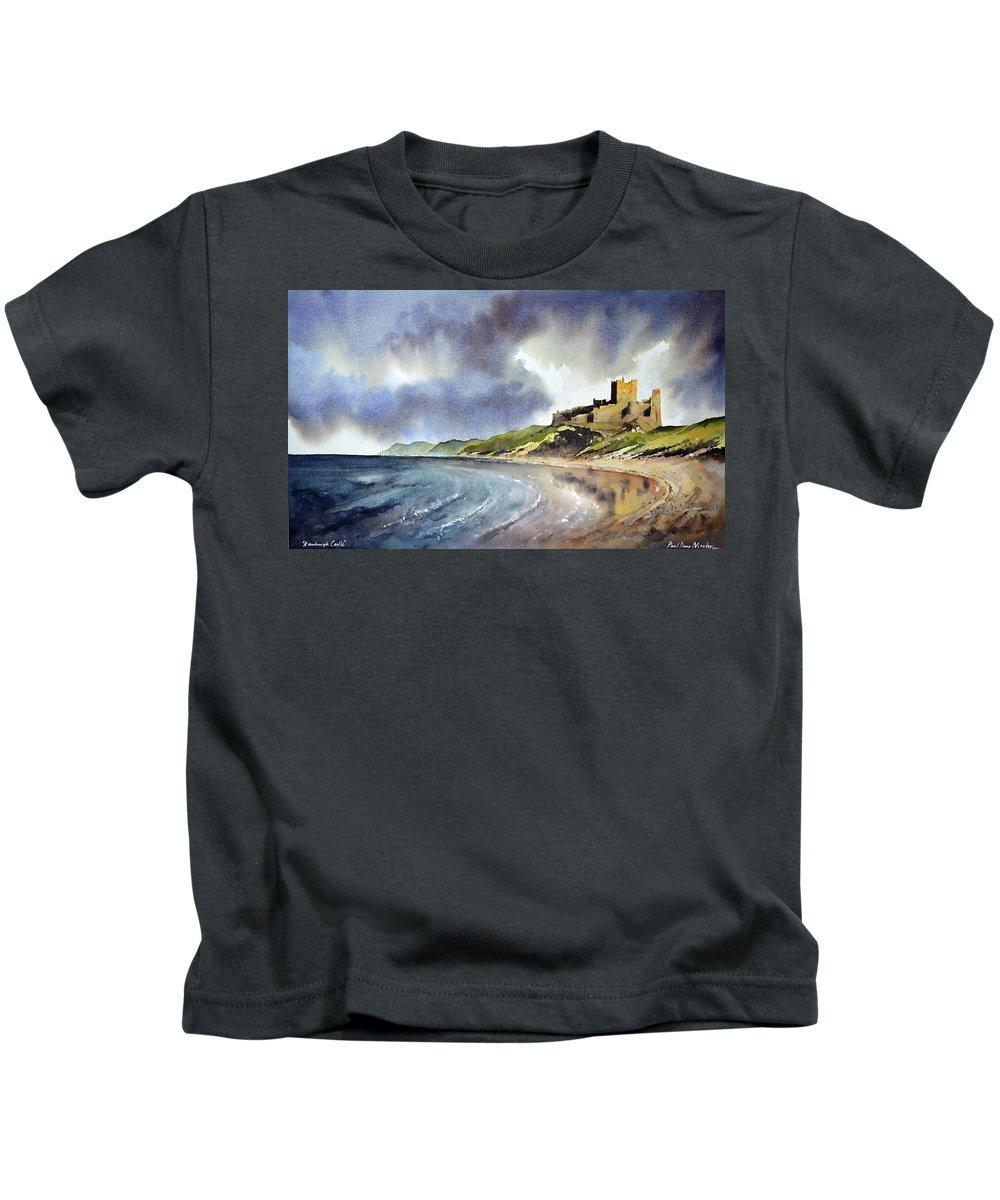 Bamburgh Castle Kids T-Shirt featuring the painting Bamburgh Castle by Paul Dene Marlor