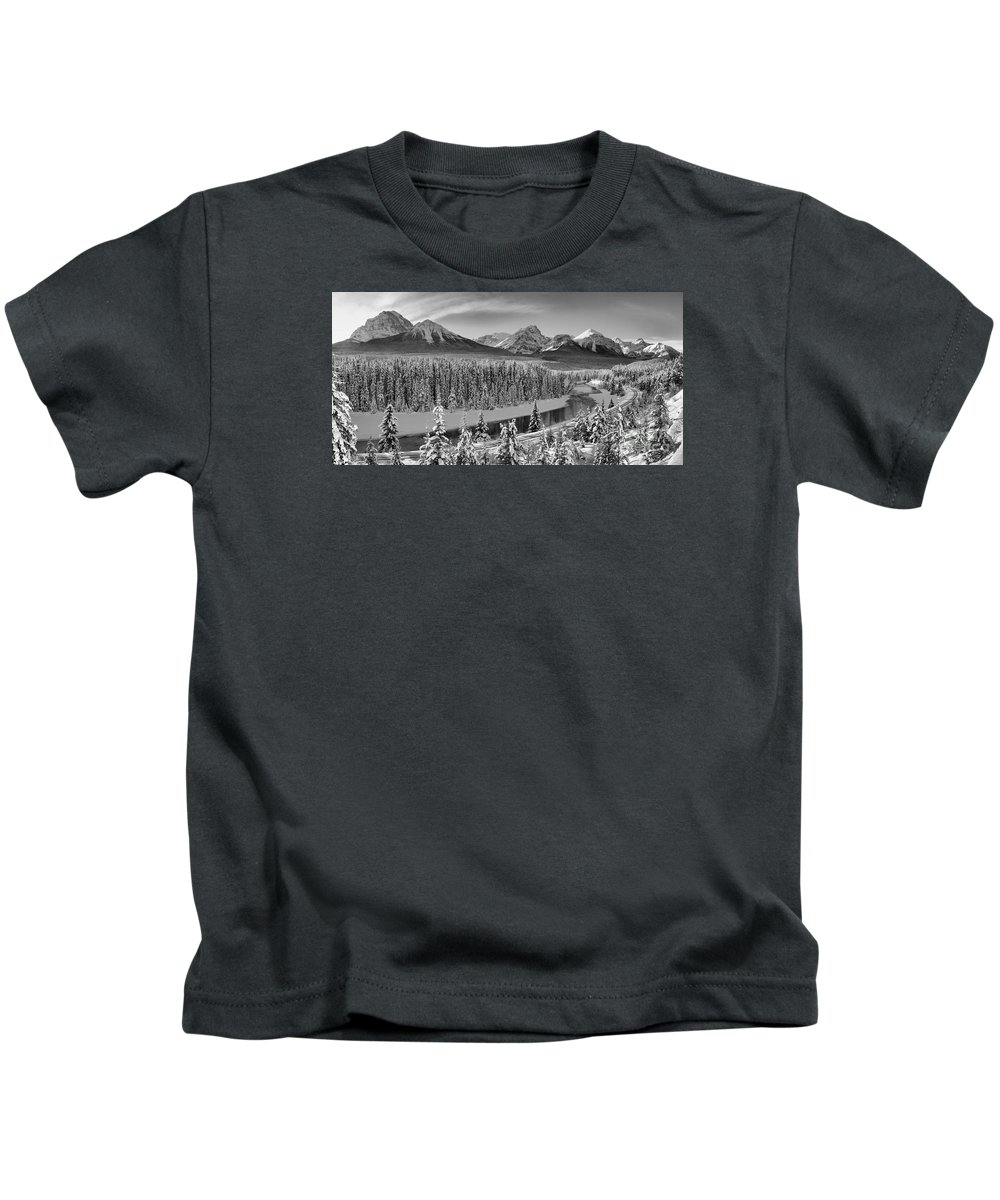 Kids T-Shirt featuring the photograph Banff Bow River Black And White by Adam Jewell