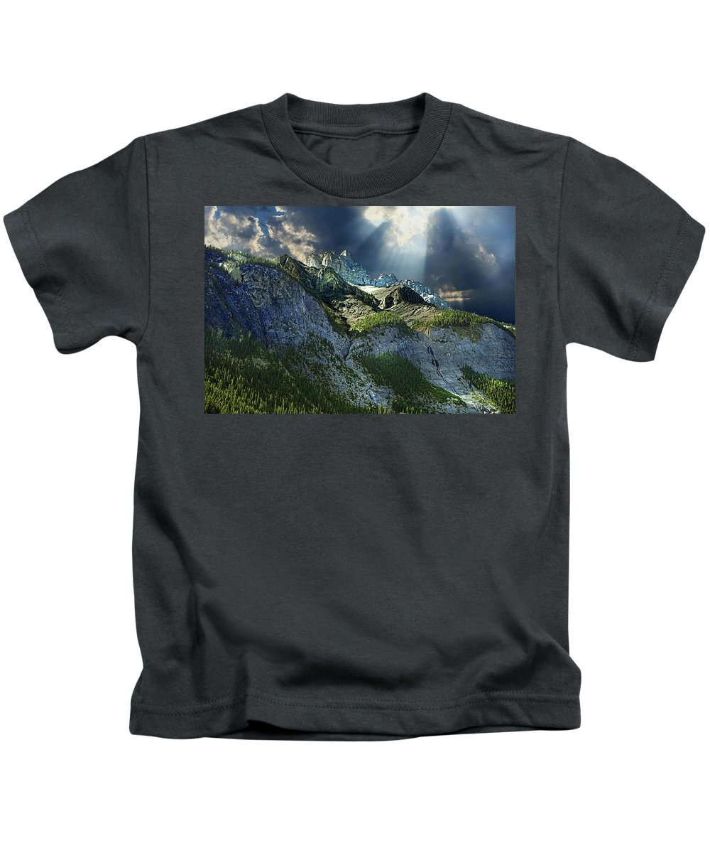Mount Cory Kids T-Shirt featuring the photograph Mount Cory, Banff by Ken McMullen