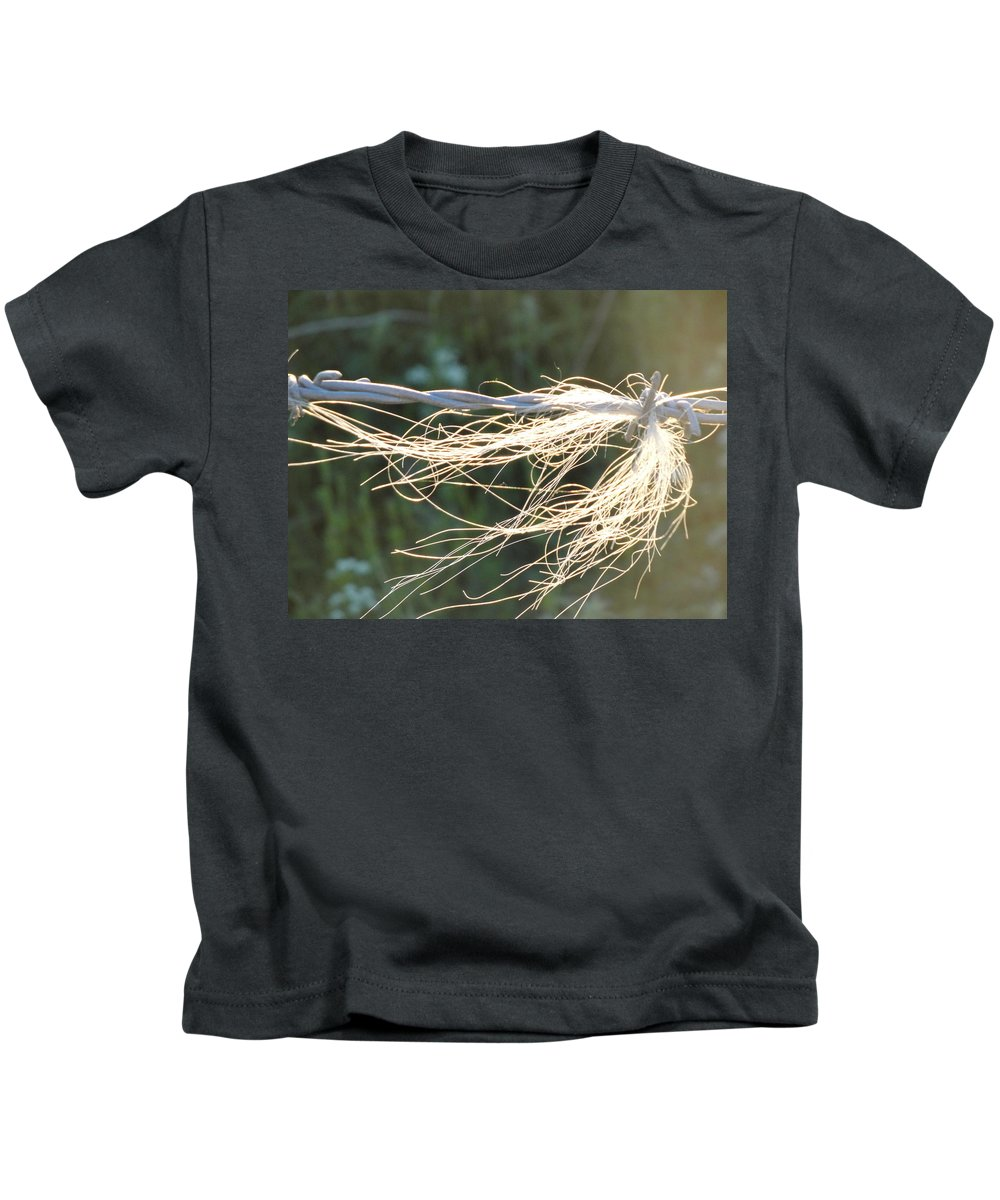 Barbed Wire Kids T-Shirt featuring the photograph Barbed Wire by Susan Baker