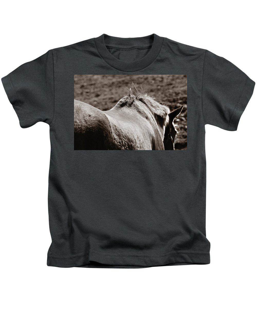 Horse Kids T-Shirt featuring the photograph Bareback by Angela Rath
