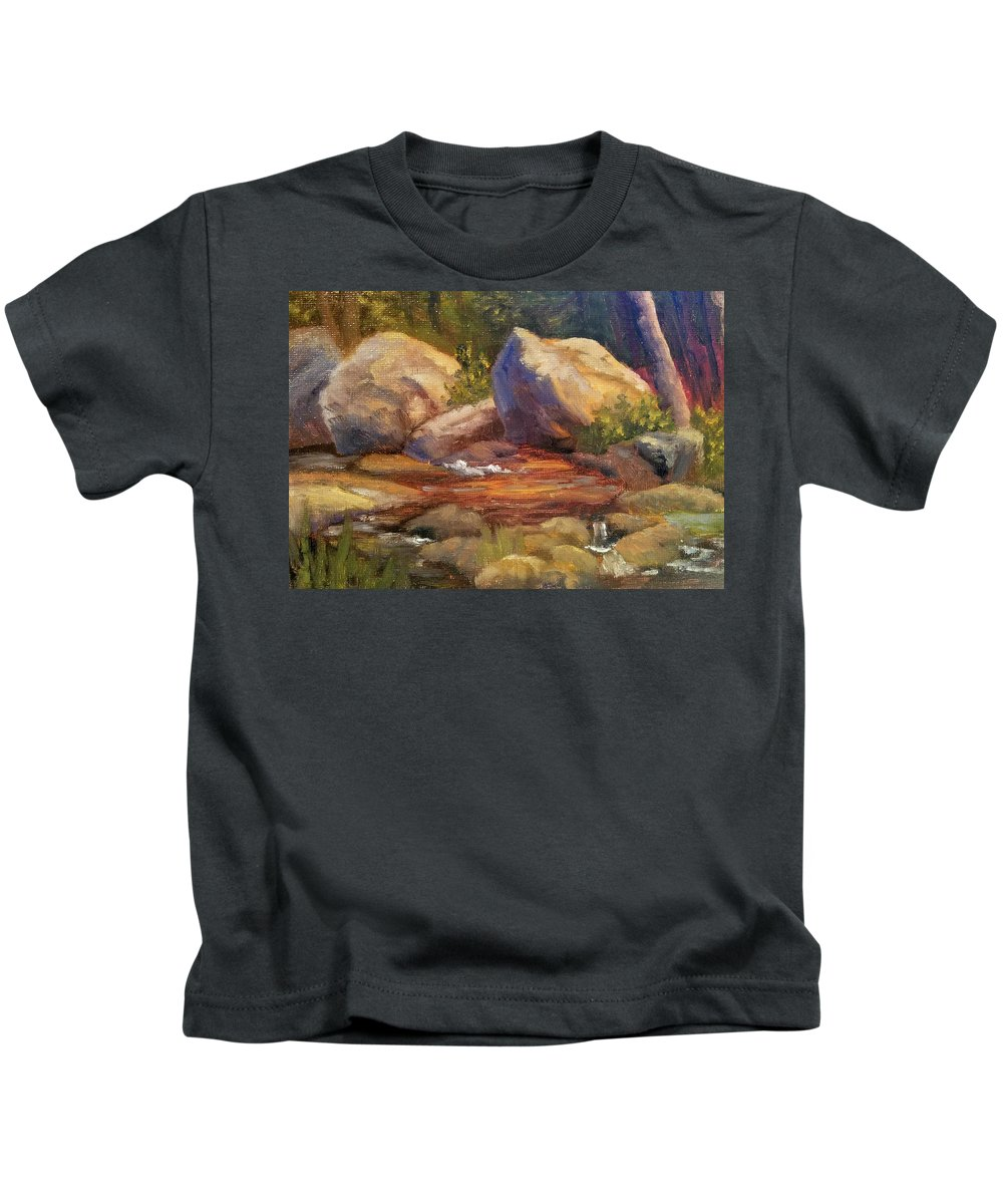 Rocks Kids T-Shirt featuring the painting Barely a Trickle by Sharon E Allen