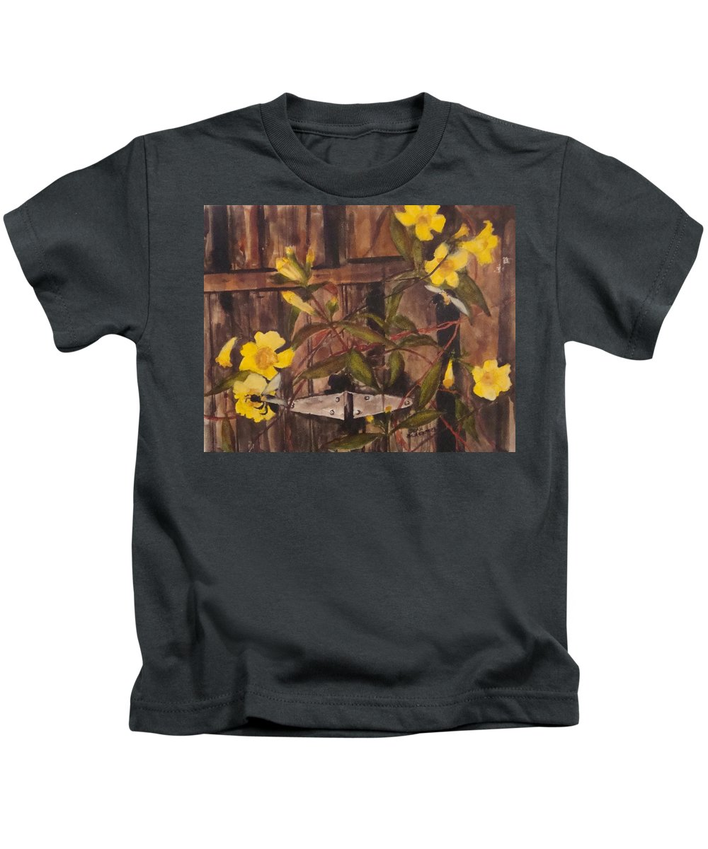 Flower Kids T-Shirt featuring the painting Barn Door Hinge by Jean Blackmer