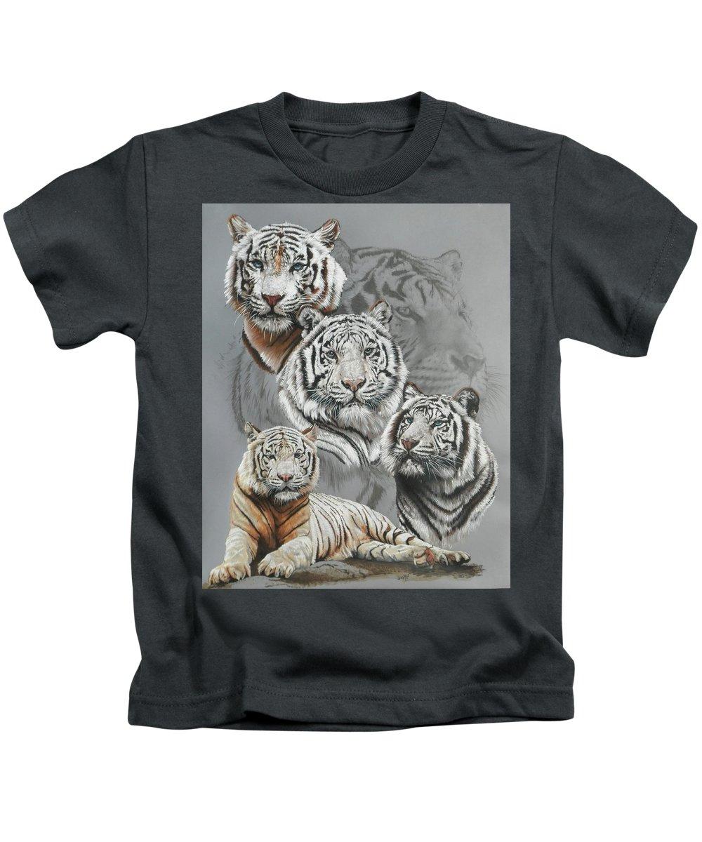 Tiger Kids T-Shirt featuring the mixed media Baron by Barbara Keith