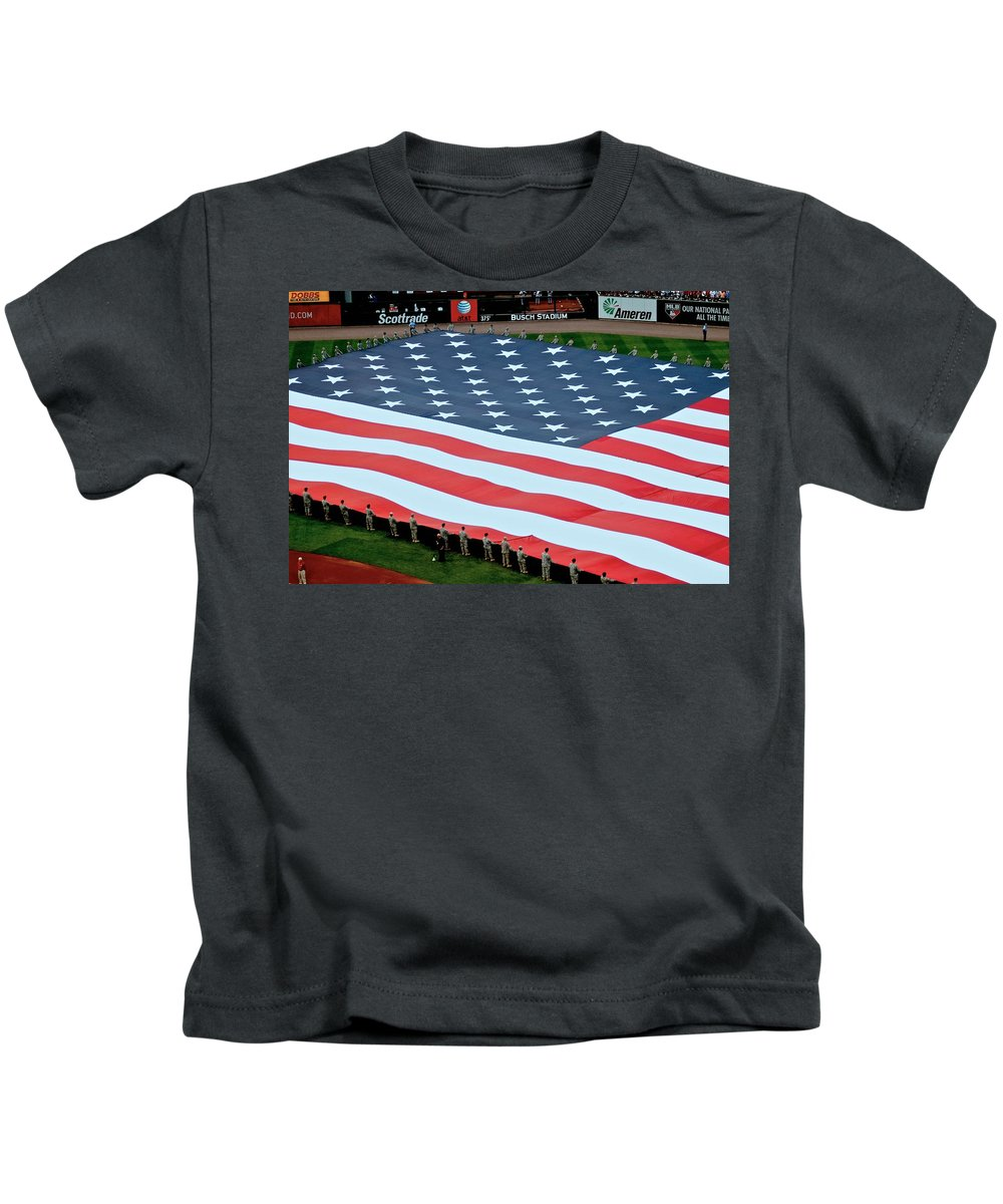 All Star Baseball Game Kids T-Shirt featuring the photograph baseball all-star game American flag by Dale Chapel