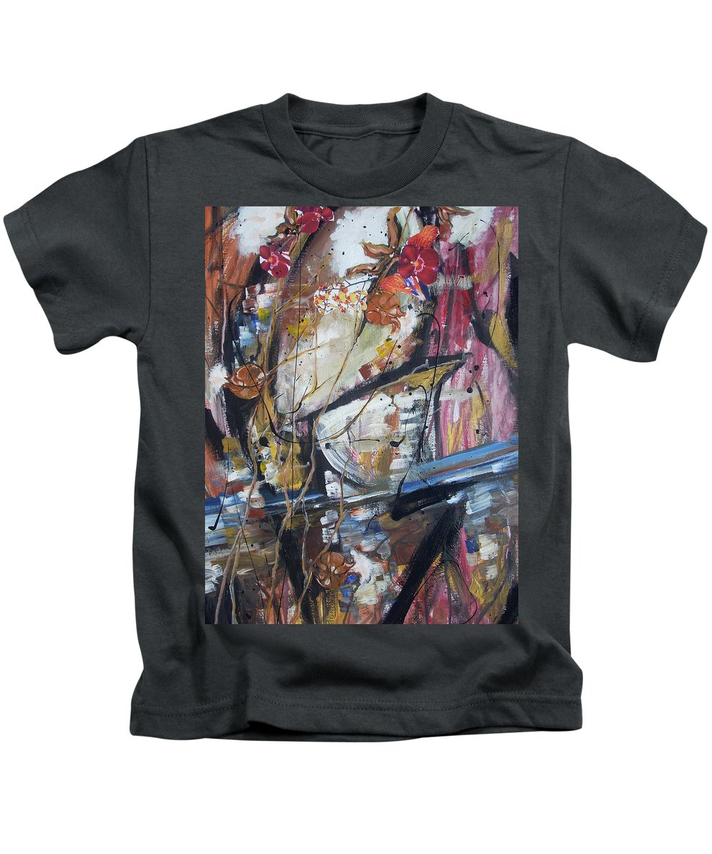 Basketball Kids T-Shirt featuring the painting Basket-boll Dreams by Hasaan Kirkland
