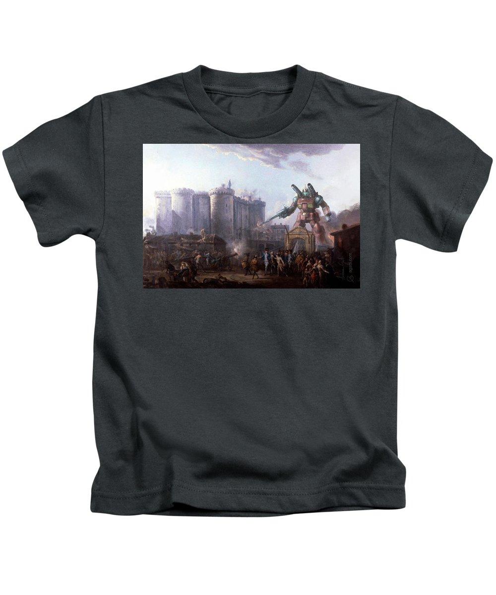 Scifi Kids T-Shirt featuring the digital art Bastille by Andrea Gatti