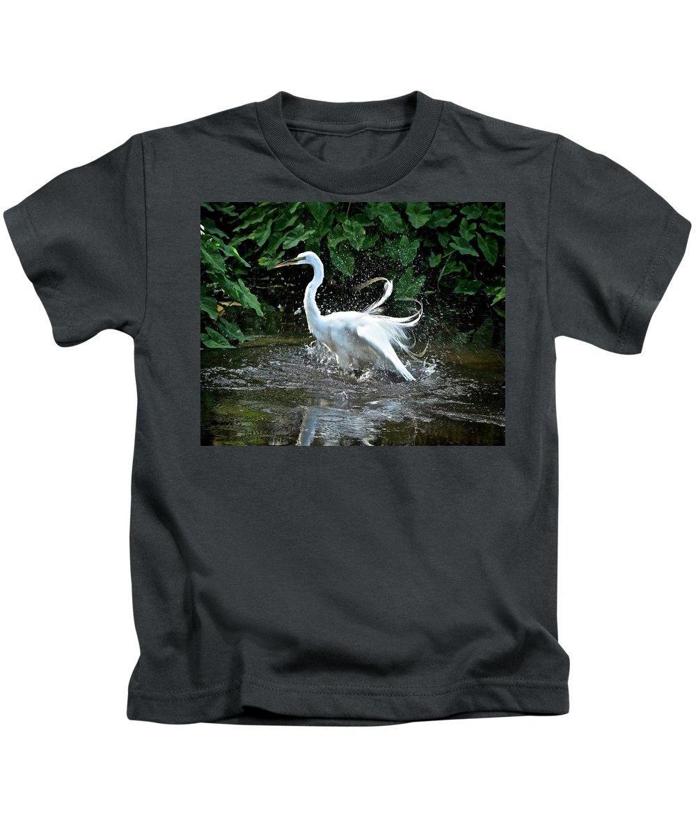 Marsh Kids T-Shirt featuring the photograph Bath Time by Carol Bradley