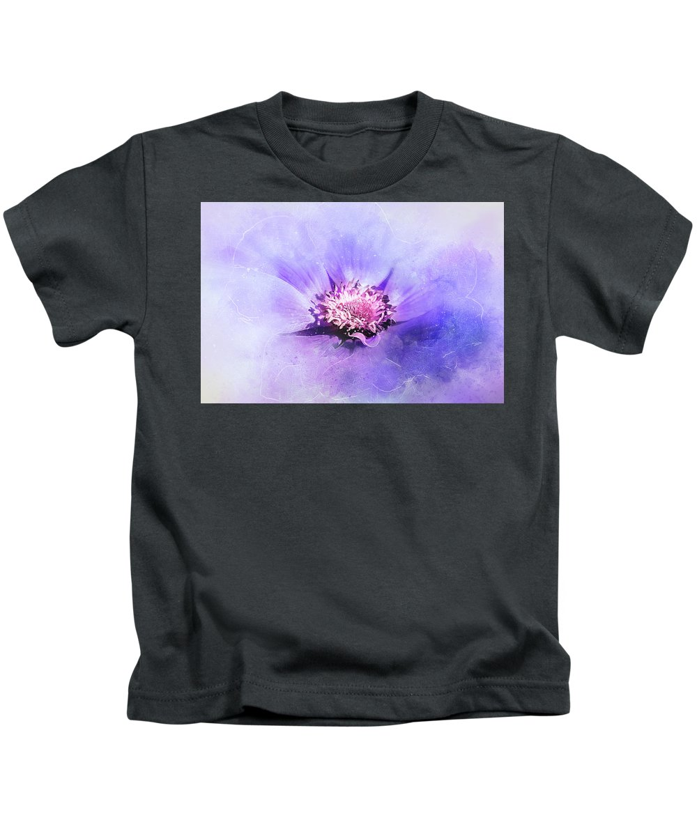 Flower Kids T-Shirt featuring the digital art Bathed In Purple by Terry Davis