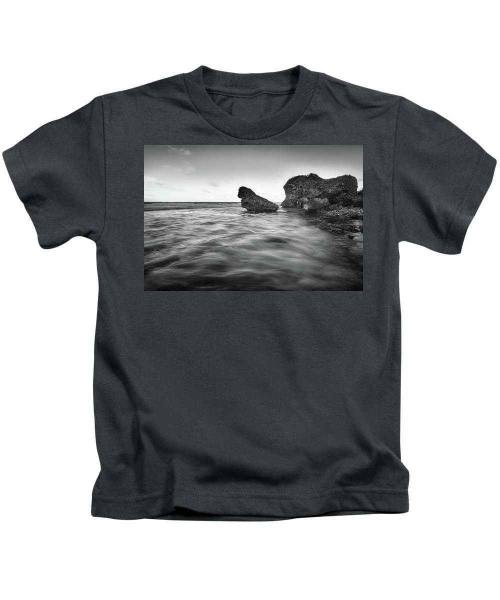 Saint Joseph Kids T-Shirt featuring the photograph Bathsheba Flow Bw by Andre Donawa