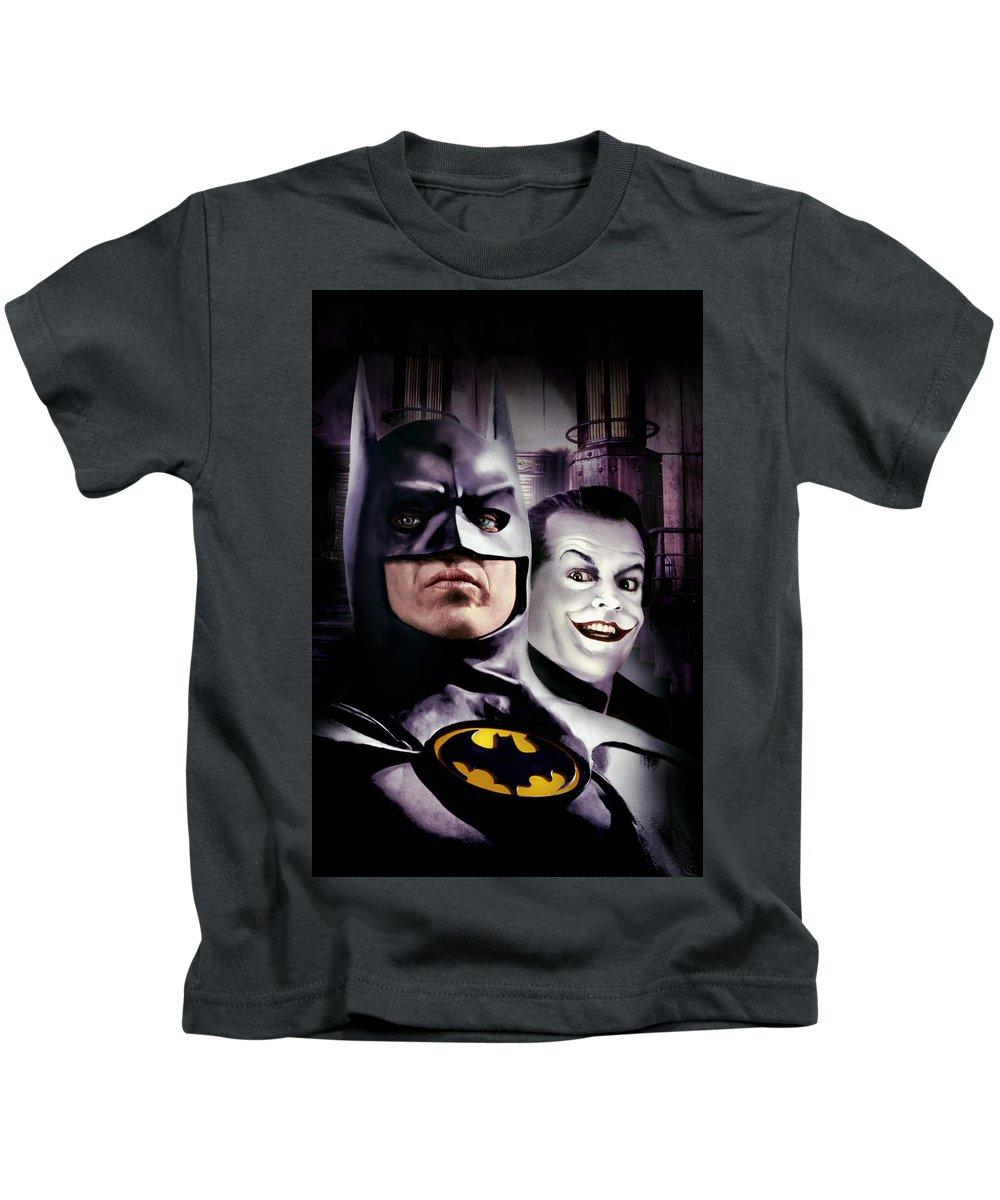 Batman 1989 Kids T-Shirt featuring the digital art Batman 1989 by Geek N Rock