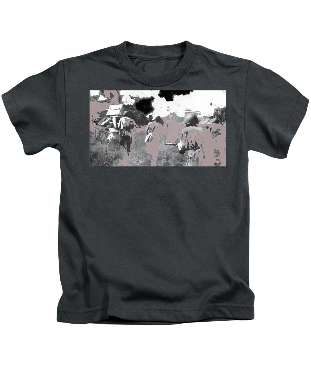 Battle Of Kursk Advancing Soviet Soldiers 1942 Color Added 2016 Kids T-Shirt featuring the photograph Battle Of Kursk Advancing Soviet Soldiers 1942 Color Added 2016 by David Lee Guss