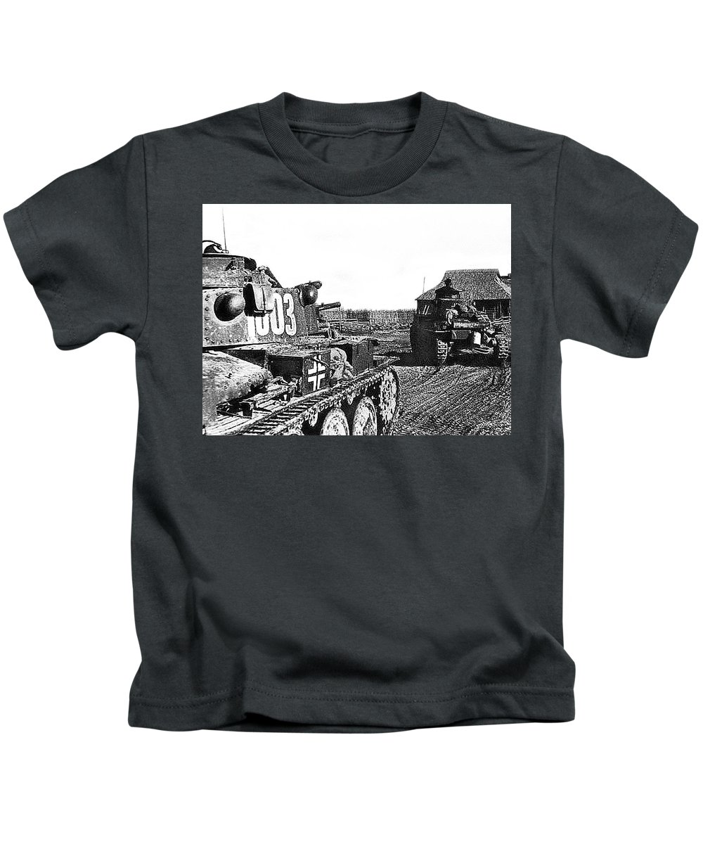 Battle Of Stalingrad Nazi Tanks Kids T-Shirt featuring the photograph Battle Of Stalingrad Nazi Tanks by David Lee Guss