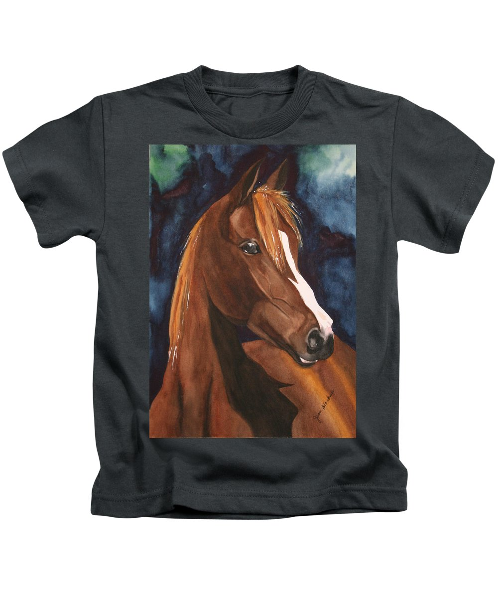 Horse Kids T-Shirt featuring the painting Bay On Blue 2 by Jean Blackmer