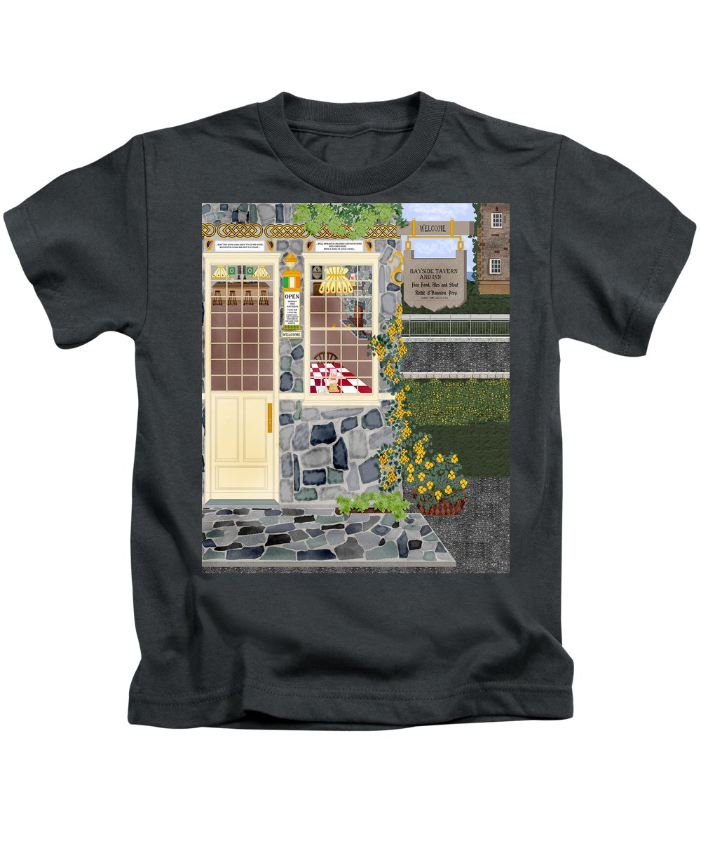 Quaint Inn Kids T-Shirt featuring the painting Bayside Inn And Tavern In Ireland by Anne Norskog