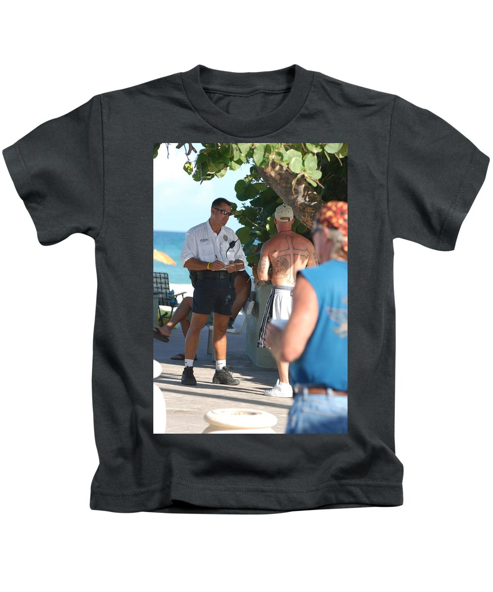 Cops Kids T-Shirt featuring the photograph Beach Cops And Christ by Rob Hans