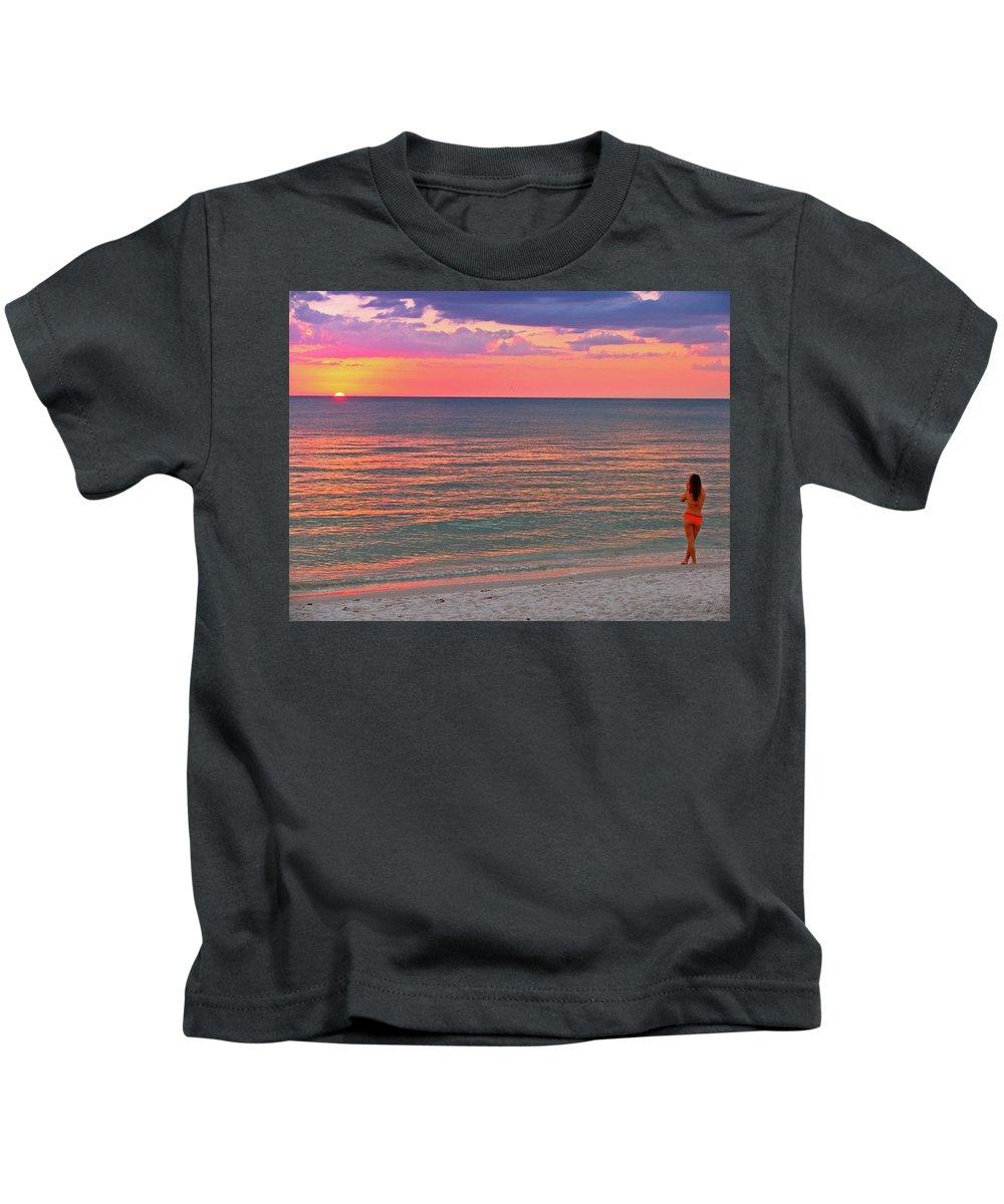 Beach Kids T-Shirt featuring the photograph Beach Girl And Sunset by Scott Mahon