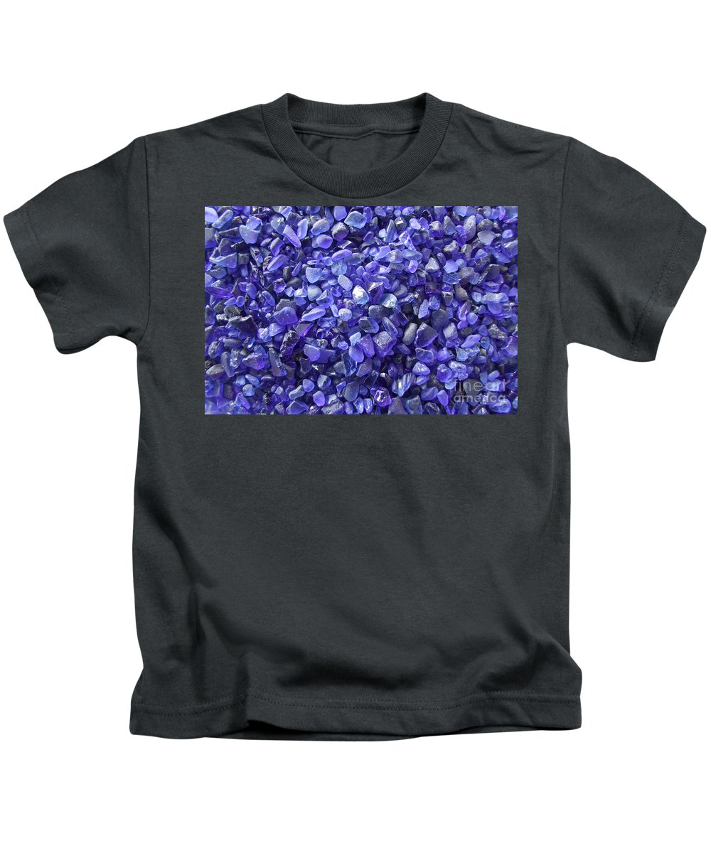 Blue Kids T-Shirt featuring the photograph Beach Glass - Blue by Mary Deal